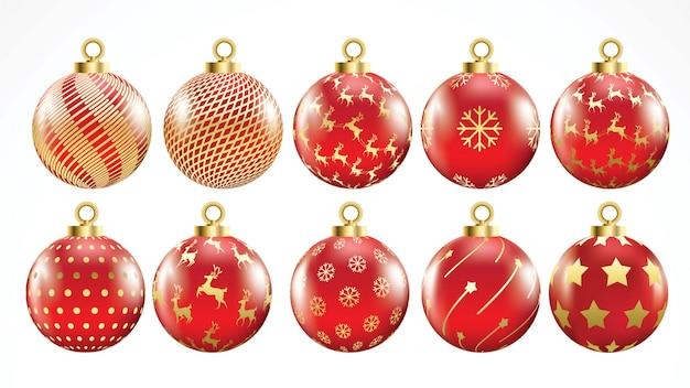 Set di vettore oro e sfere rosse di natale con gli ornamenti