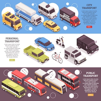 Set di vettori di città isometriche orizzontali banner, veicoli personali e mezzi pubblici