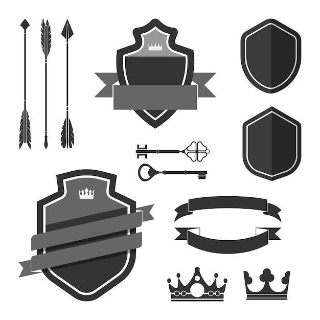 Set di vettori di ornamento etichetta nera