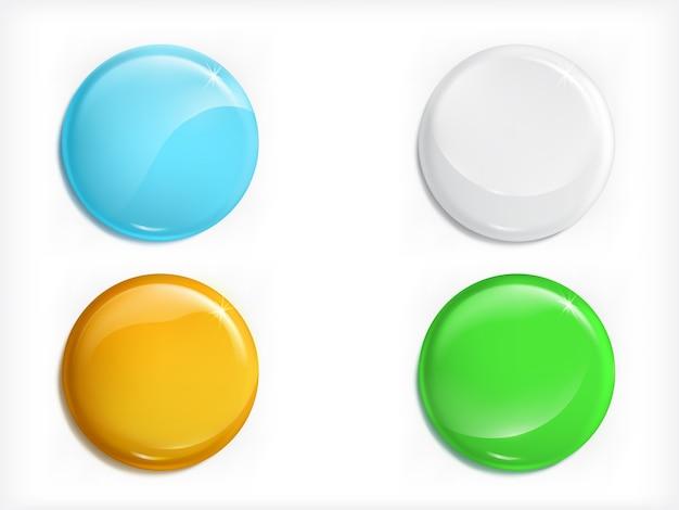 Set di vettori realistici pulsanti rotondi lucidi colorati