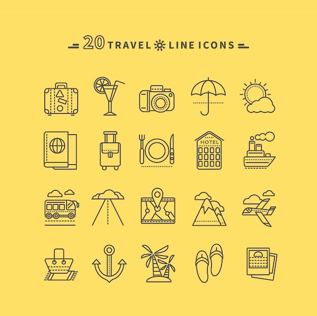 Set di viaggio nero sottile, linee, icone di contorno