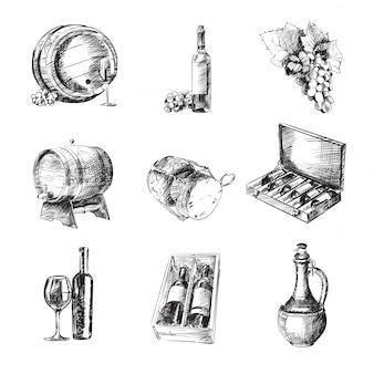 Set di vini in bianco e nero