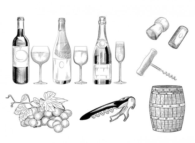 Set di vino disegnato a mano di bicchiere di vino, bottiglia, botte, tappo di vino, cavatappi e uva.