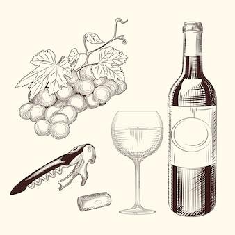 Set di vino disegnato a mano di bicchiere di vino, bottiglia, tappo di vino, cavatappi e uva.