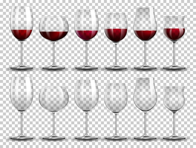 Set di vino su diversi bicchieri