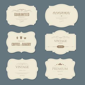 Set di vintage label e banner vecchia moda.