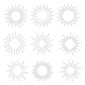Set di vintage sunbursts in diverse forme.