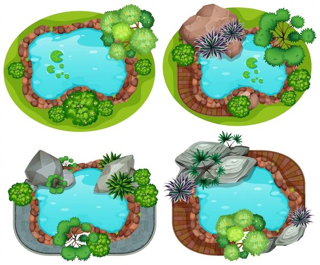 Set di vista aerea del giardino