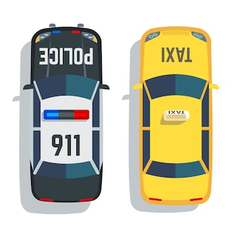 Set di vista superiore di auto della polizia e taxi