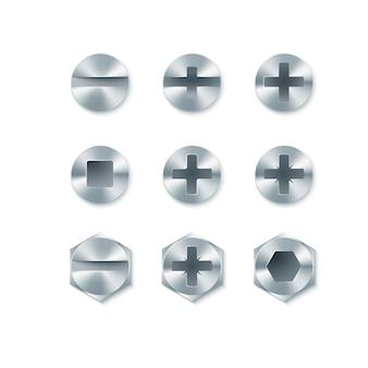 Set di viti e bulloni, chiodi isolati su sfondo bianco