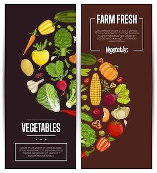 Set di volantini di agricoltura di verdure fresche