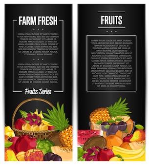Set di volantini di frutta biologica fresca