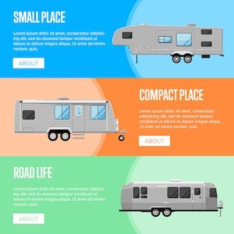 Set di volantini di rimorchio campeggio moderno