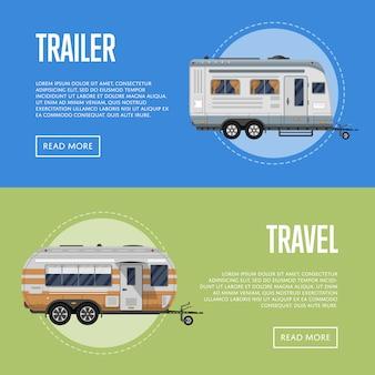 Set di volantini di rimorchio di viaggio moderno
