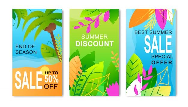 Set di volantini per le vendite estive che offrono uno sconto eccezionale per la fine della stagione