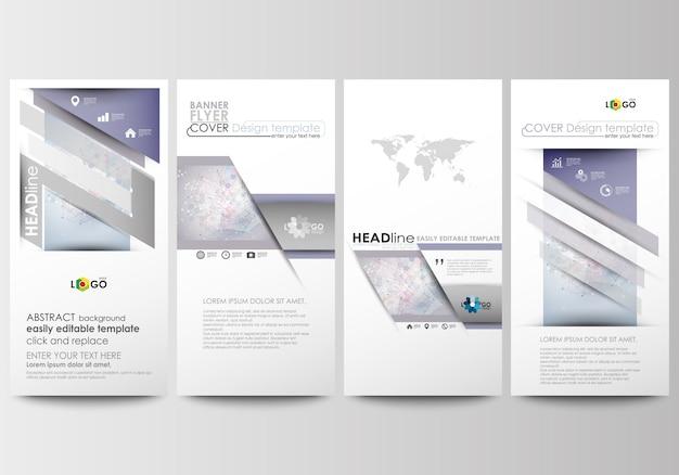 Set di volantini, striscioni moderni. modelli di business modello di copertina. struttura della molecola