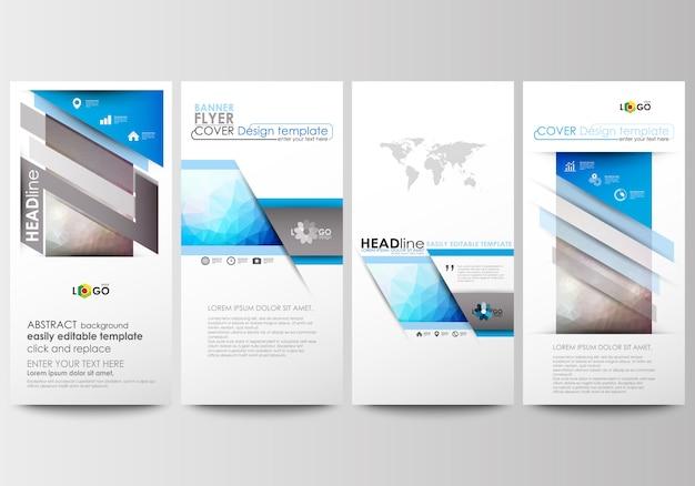 Set di volantini, striscioni moderni. modelli di business modello di copertina. triangoli astratti