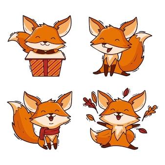 Set di volpe del fumetto disegnato