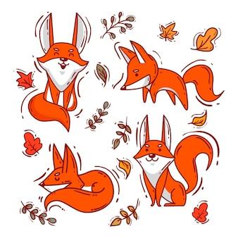 Set di volpe disegnata a mano