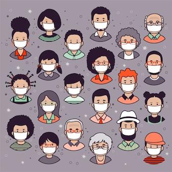 Set di volti umani, avatar, teste di persone di diverse nazionalità ed età in stile piatto che indossano maschere protettive.