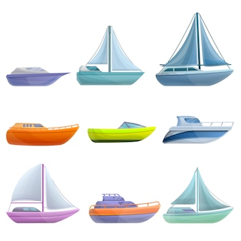 Set di yacht, in stile cartone animato