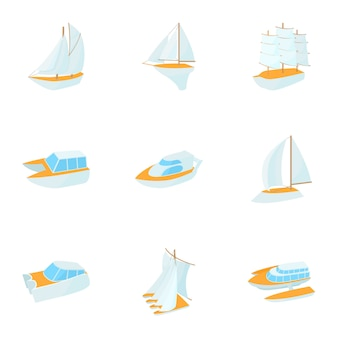 Set di yacht, stile cartoon