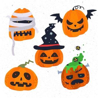 Set di zucca di halloween design piatto