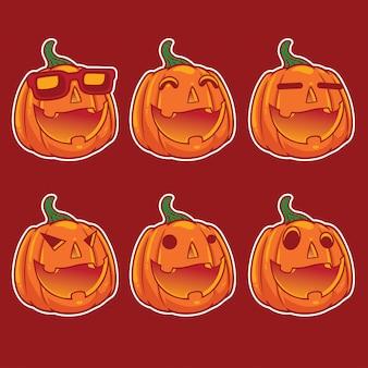 Set di zucca di halloween emoji