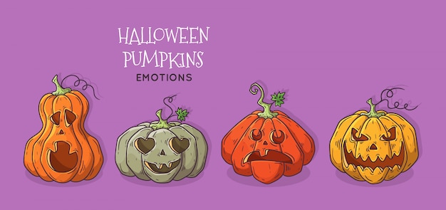 Set di zucche decorate per halloween