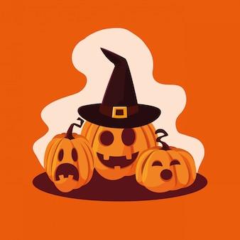Set di zucche di halloween con cappello da strega