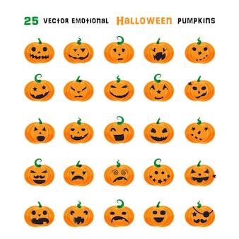 Set di zucche emotive di halloween