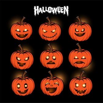 Set di zucche intagliate di halloween