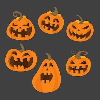 Set di zucche spaventose di halloween. zucche terrificanti spettrali di vettore piano di stile