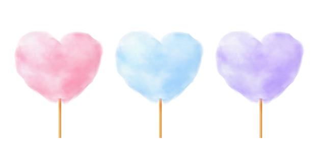 Set di zucchero filato a forma di cuore. caramelle di cotone a forma di cuore viola blu rosa realistico su bastoncini di legno.