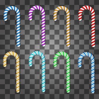 Set di zucchero filato colorato isolato su sfondo trasparente