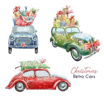 Set dipinto a mano di auto d'epoca di natale