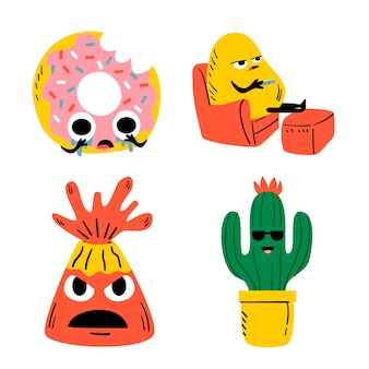 Set disegnato a mano divertente adesivo