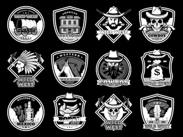 Set distintivo e logo teschi da cowboy e sceriffo wild west, cappelli e pistole