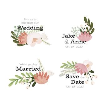 Set distintivo floreale di nozze