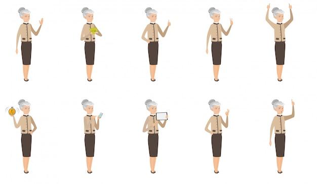 Set donna caucasica d'affari.