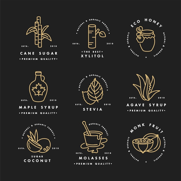 Set dorato di loghi, distintivi e icone per prodotti naturali e biologici. simbolo di raccolta di prodotti sani e alternative di zucchero, sostituti naturali.