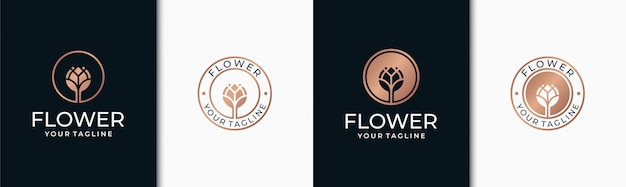 Set elegante design del logo floreale