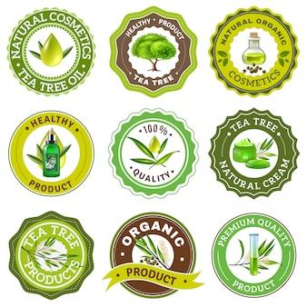 Set emblema dell'albero del tè