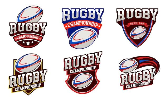 Set emblema design distintivo logo rugby