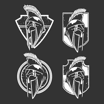 Set emblema elmo vichingo bianco e nero