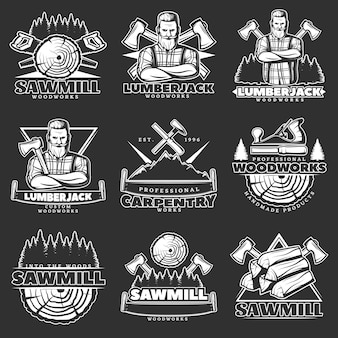 Set emblema scuro del boscaiolo