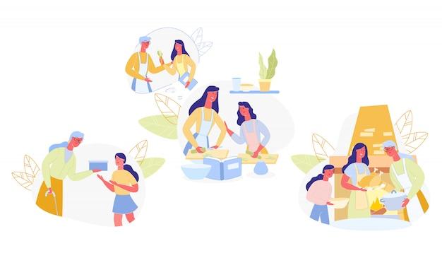 Set famiglia impara utile abilità di cottura dei cartoni animati.
