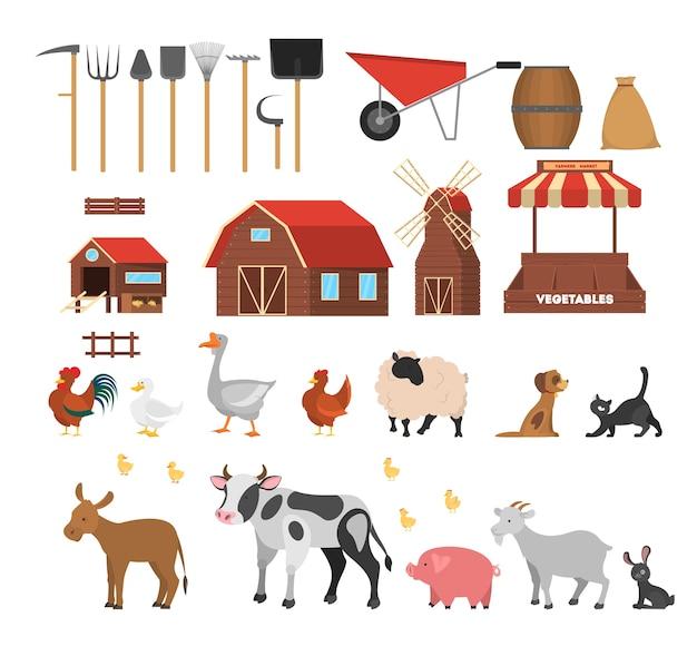 Set fattoria. collezione di animali domestici e contadini