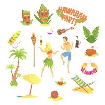Set festa hawaiana, illustrazioni simboli hawaii