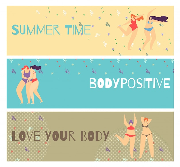 Set flat horizontal motivate body positive banner